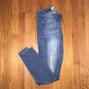 slightly distressed skinny jean